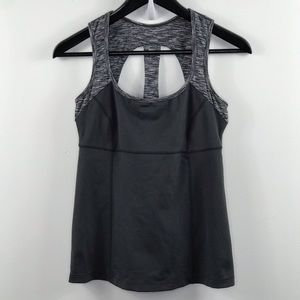 Prana black and heathered gray open back top